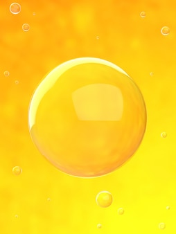 Bubbles in orange water 3d render