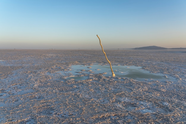Bubbling pond in the salt plains of asale lake in the danakil depression in ethiopia, africa