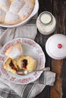 Buchteln  sweet buns with plum jam
