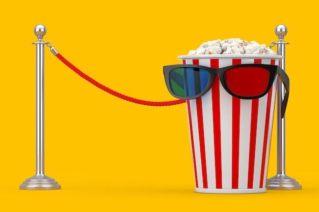 노란색 배경에 있는 시네마 배리어 로프 앞의 3d 안경에 팝콘이 가득한 양동이. 3d 렌더링