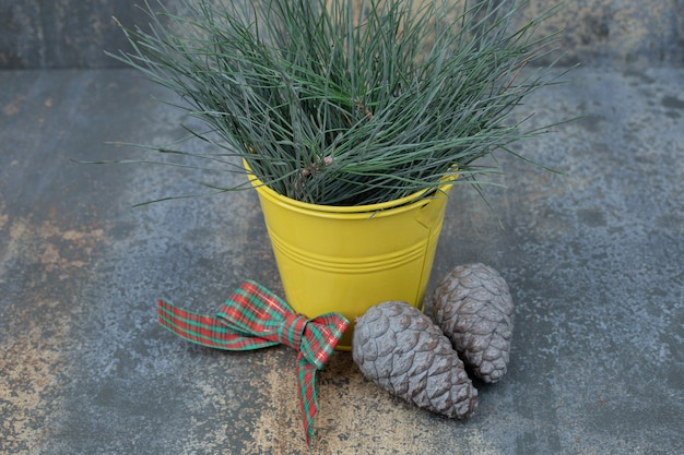 大理石のテーブルに弓と松ぼっくりで飾られた草のバケツ。高品質の写真