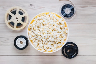 Bucket of popcorn and films