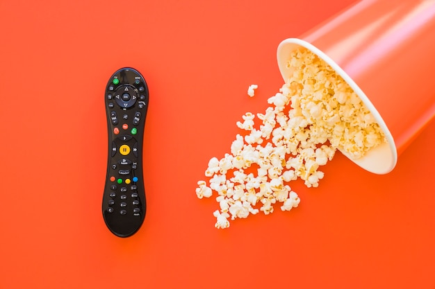 Bucket of popcorn and remote control