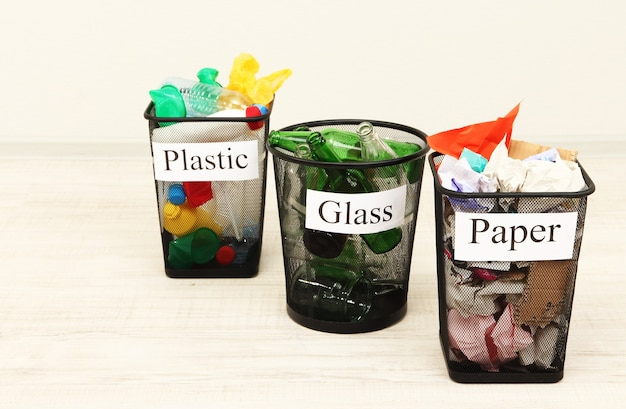 Buckets for waste sorting on room surface