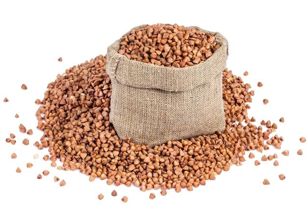 Buckwheat in bag isolated