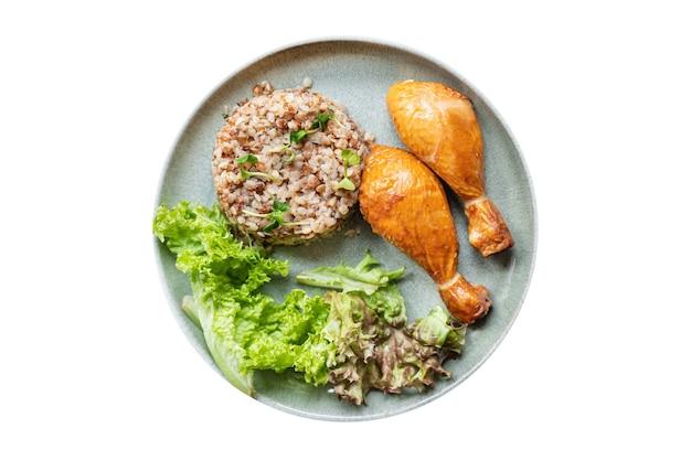 Buckwheat chicken leg salad porridge leaves green lettuce mix fresh