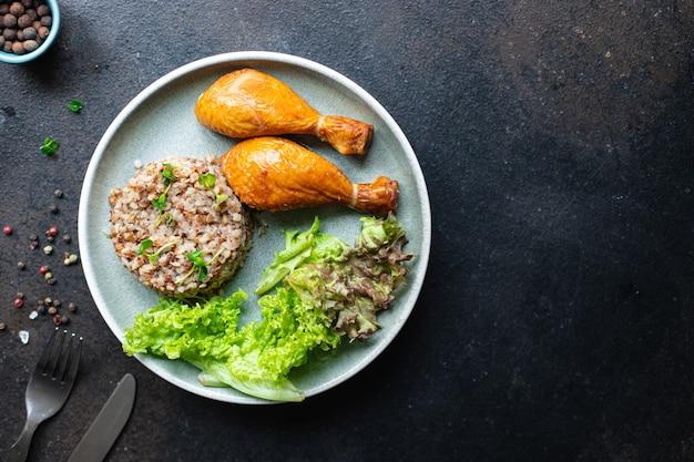 そばチキンレッグサラダのお粥の葉グリーンレタスミックスフレッシュ