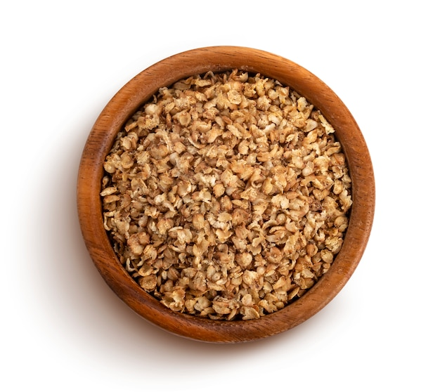 Buckwheat flakes isolated with clipping path