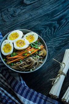 Buckwheat soba noodles with sauce and side dishes in bouillon.