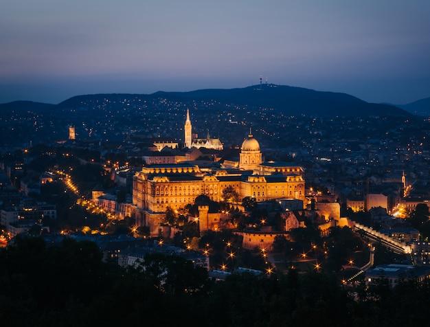 Budapest buda castle at sunset, hungary