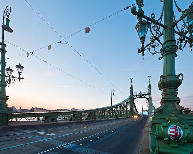 Budapest liberty bridge across the danube river . evening cityscape.