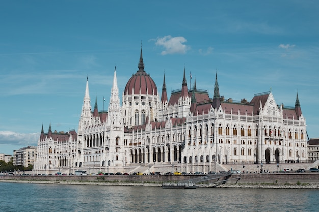 Budapest parliament building in the afternoon against a clear blue sky