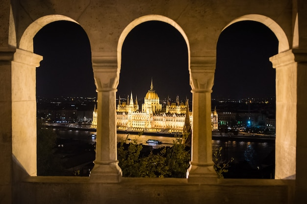 Budapest parliament seen from the arches of fishermen's bastion