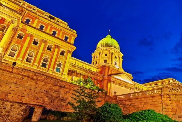 Будапештский королевский замок в ночное время. венгрия.