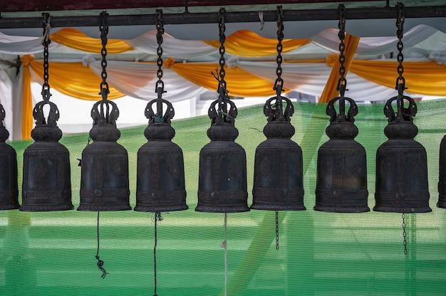 Buddha bell in wat hualamphone temple at bangkok city thailand