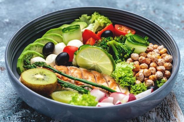 鶏の切り身、アボカド、アスパラガス、ひよこ豆、ブロッコリー、大根、鶏肉、きゅうり、トマト、オリーブ、モッツァレラチーズのブッダボウル料理。デトックスと健康的なスーパーフードのコンセプト、上面図