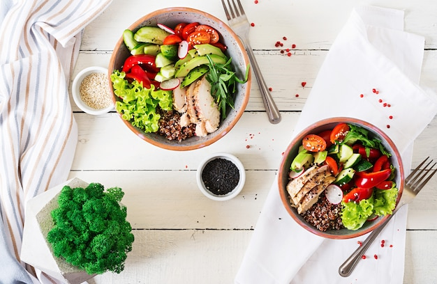 Buddha bowl dish with chicken fillet