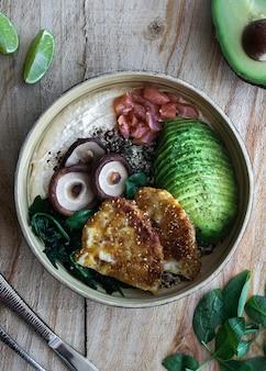 仏bowl、健康でバランスの取れた食べ物、トップビュー