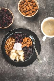 Buddha bowl with coffee