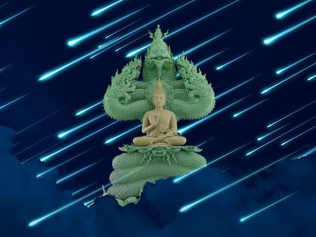 Buddha protected by hood of mythical king naga and meteor rain on the night sky