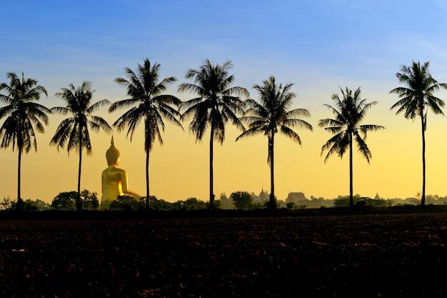 Статуя будды в ват муанг анг тонг посреди рисового поля