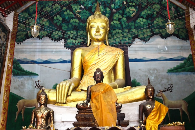 Buddha statue beautiful in the church of wat kae temple at suphanburi