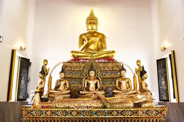 Buddha statue beautiful in the church of wat pranon temple at suphanburi
