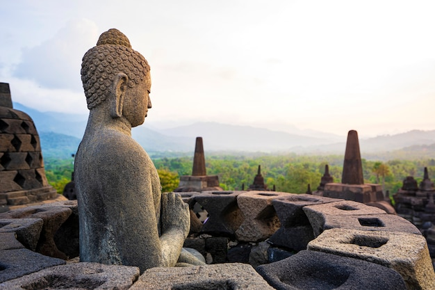 Buddha statue in borobudur, buddist temple in yogyakarta, indonesia
