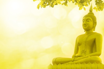 Buddha statue priest religion on golden background