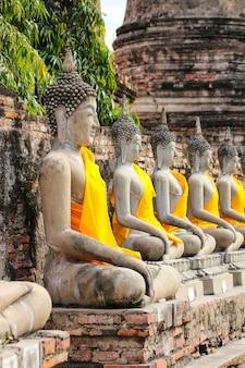 Buddha statue in wat yai chaimongkol temple , ayutthaya , thailand.