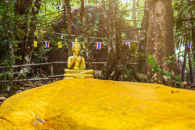 Buddha statue on the way up at the stone with the footprint of lord buddha