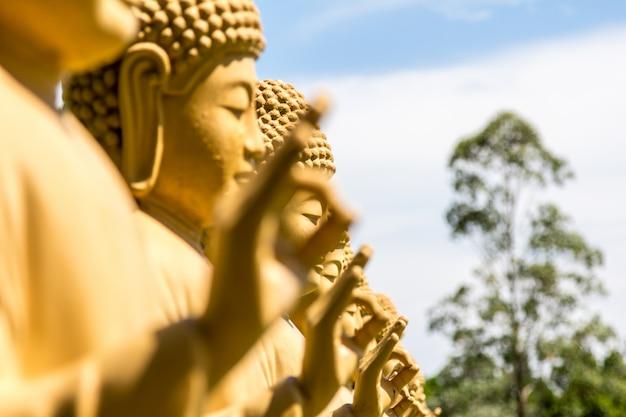 Статуи будды в буддийском храме. foz do iguacu, бразилия.