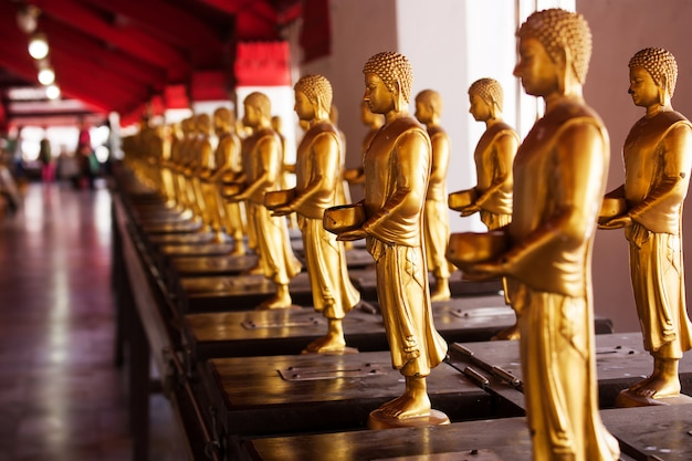 Buddha statues, wat phra mahathat nakhon thammarat in thailand