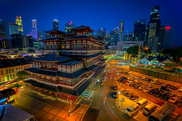 Buddha tooth relic temple in night