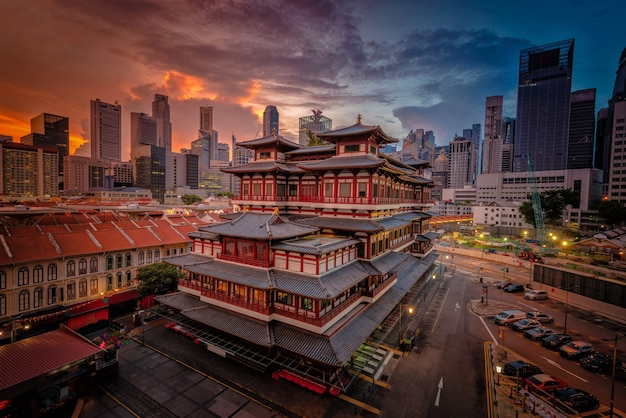 Buddha tooth relic temple at sunrise in china town, singapore.