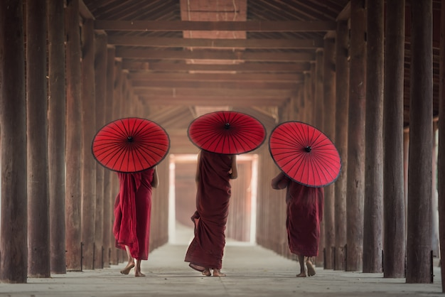 Buddhist novice are walking in temple, myanmar