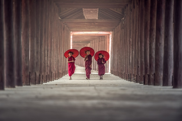 Buddhist novice are walking in temple, myanmar