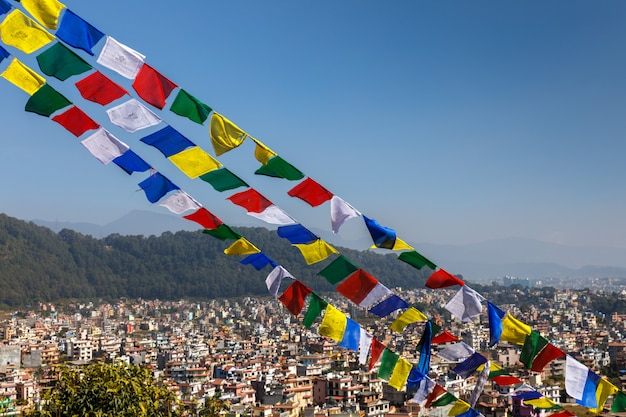 Buddhist prayer flags against the backdrop of the kathmandu valley, nepal