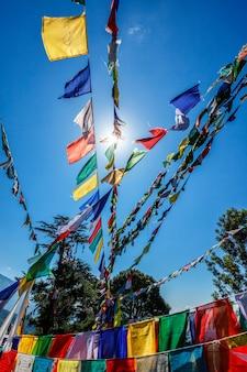 仏教の祈りは、mcleod ganj himachalpradeshインドの肺炎にフラグを立てます