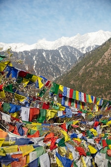 Buddhist prayer flags in the top of the mountain toned phot