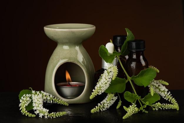 Buddleja paniculata, цветы куста бабочки и горелка эфирного масла на черном фоне.