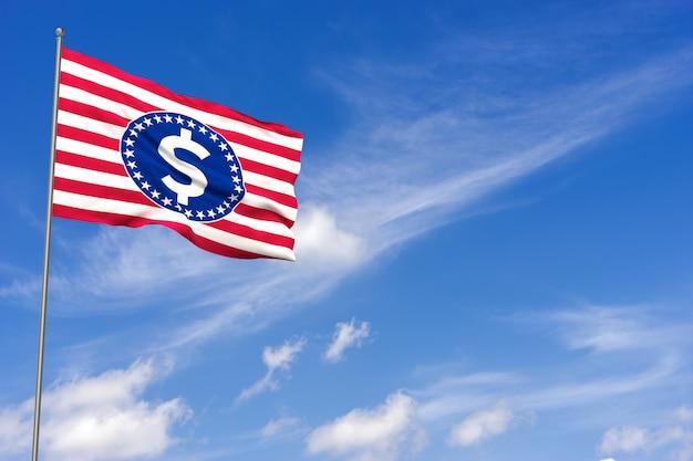 예산, 금융 및 민족주의 개념-미국 국기 및 달러 기호 닫습니다. 3d 렌더링