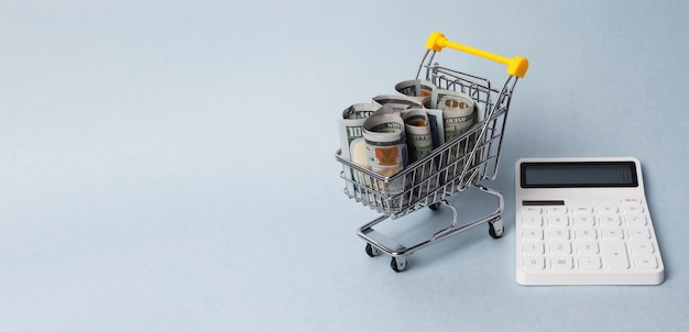 Budget on food calculating. shopping trolley with cash and calculator. banner with place for text