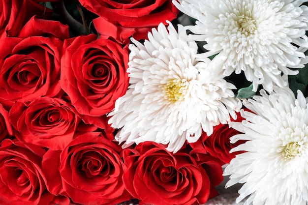Buds of red roses and white chrysanthemums close-up. bright festive floral.