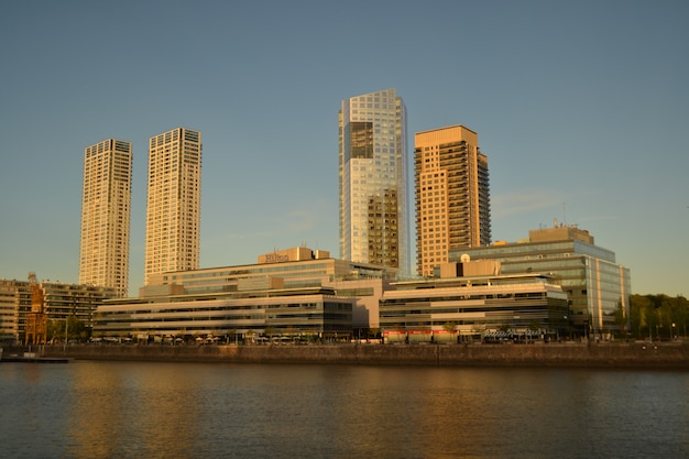 Buenos aires view from the porto madero's border at the end of the afternoon