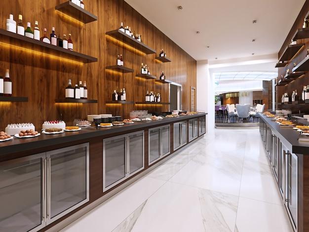 Современный ресторан-буфет в современном стиле. холодные шкафы и декоративные полки с бутылками. дизайн ресторана. 3d рендеринг