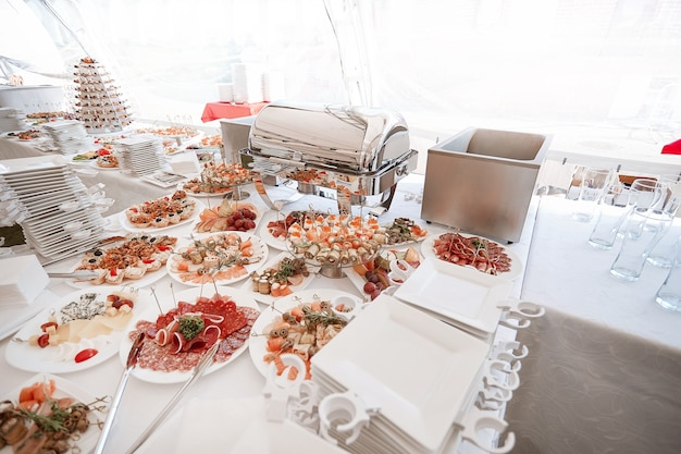 Buffet table with a variety of dishes in the restaurant