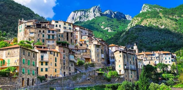 Буджо, красивая средневековая деревня на вершине холма в лигурии, италия