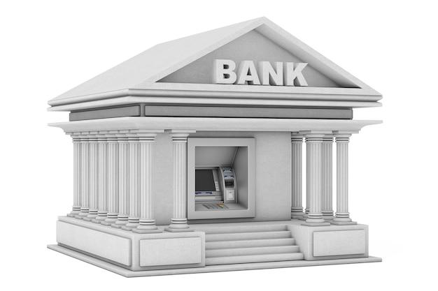 흰색 배경에 은행 건물로 은행 현금 atm 기계에 구축. 3d 렌더링