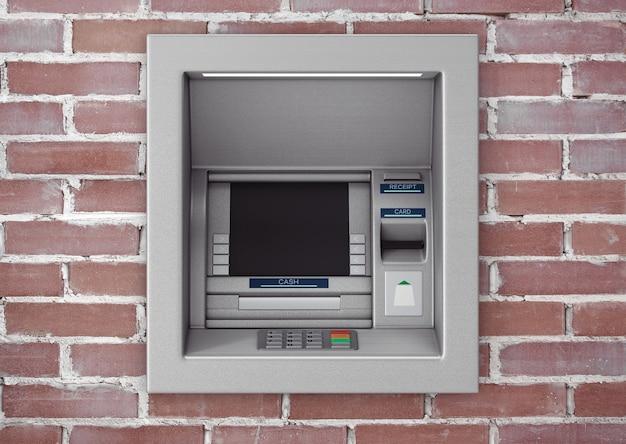 벽돌 벽에 은행 현금 atm 기계를 구축하십시오. 3d 렌더링